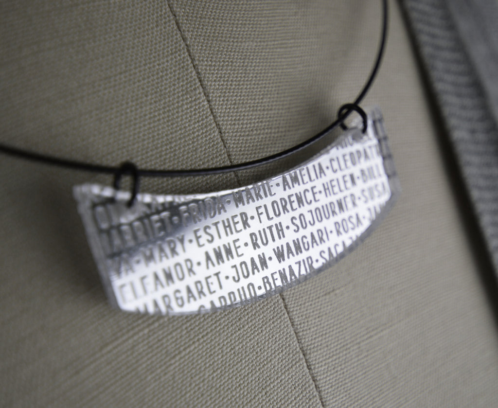 Silver Mirror Women of History Necklace