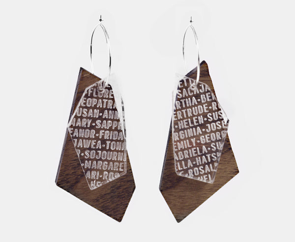 Wood 'Women of History' Shard Earrings