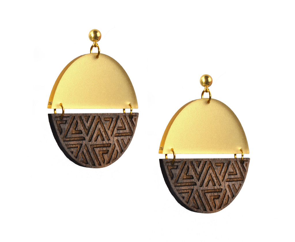 Wood & Gold Triangle Pattern Half Moon Earrings