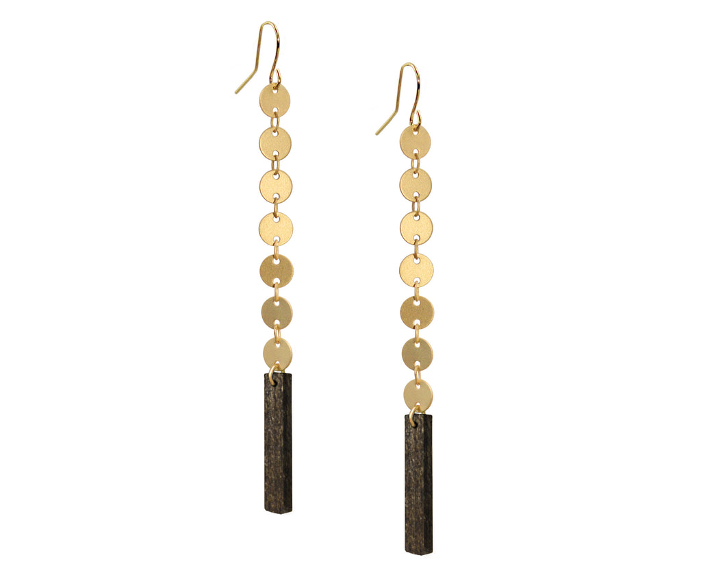Wood & Gold Circles Cascade Earrings