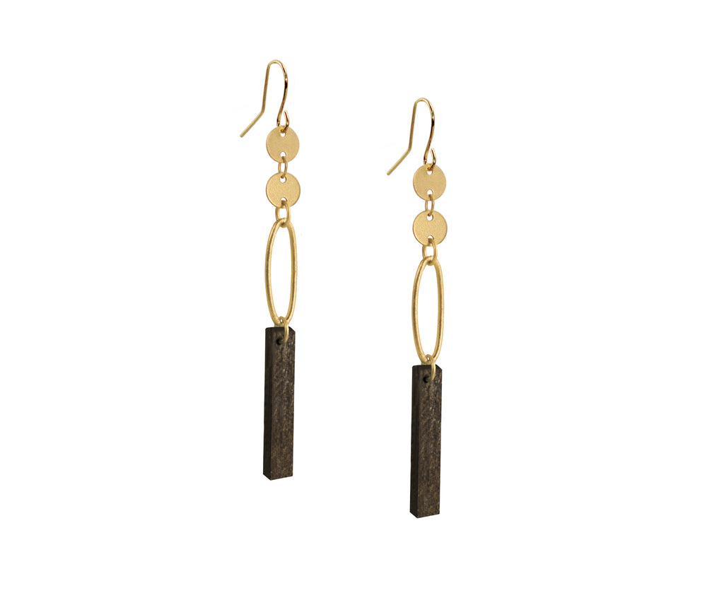 Wood & Gold Ellipse Plank Earrings