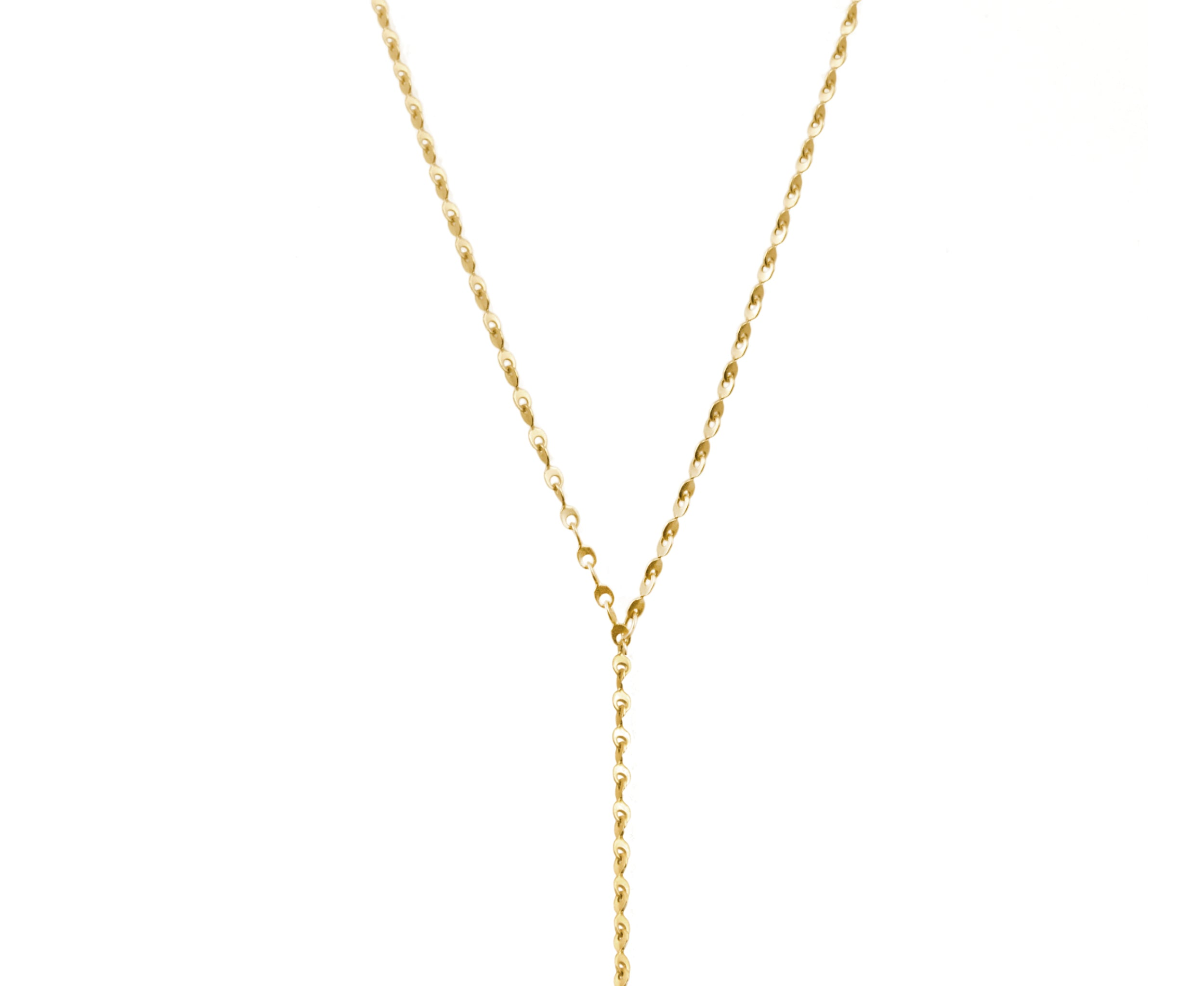 Wood & Gold Eyelet Chain Lariat Necklace
