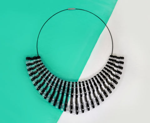 'Bold' Necklace - Black & Clear