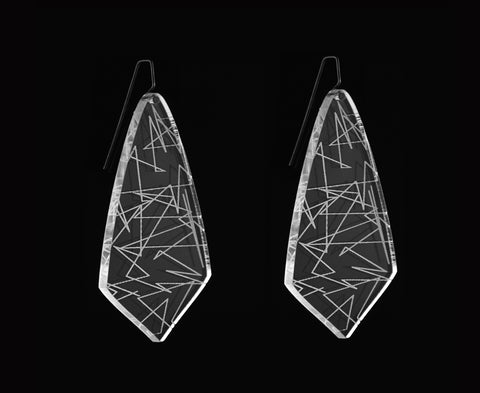 Clear Etched Zigzag Earrings
