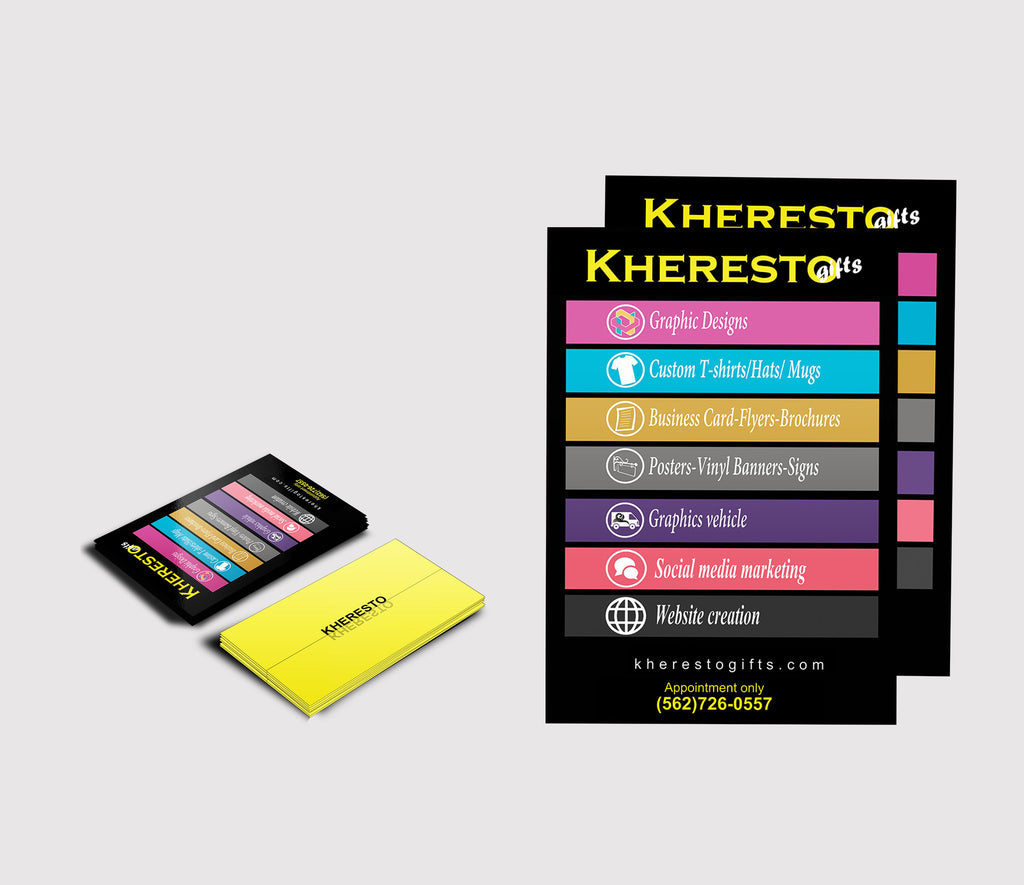 1000 Business Cards + 1000 Flyers Bundle – KHERESTO GIFTS