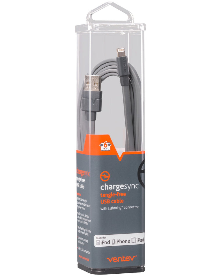 Ventev Charge/Sync Lightning Cable 6ft Gray