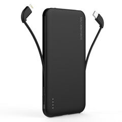 Blu Element Portable Power 5000 mAh with Built in Lightning / Micro USB and USB-C Cables Black