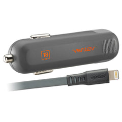 Ventev Power Delivery Car Charger 18W with USB-C to Lightning Cable Grey