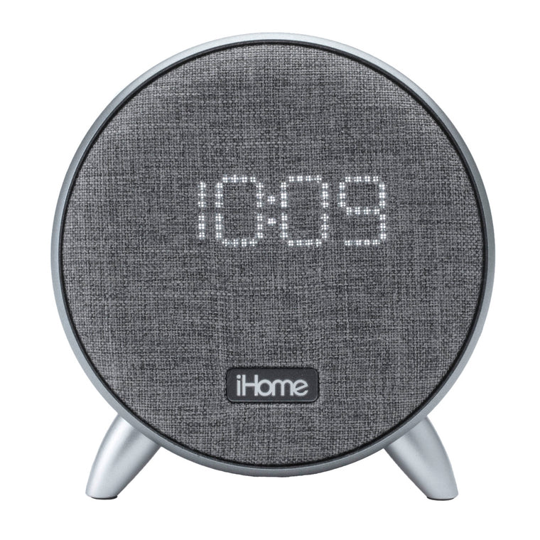 iHome Bluetooth Alarm Clock Dual Power Glow with USB and Ambient Light Grey