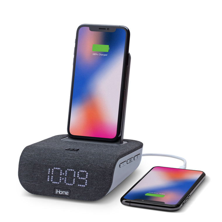 iHome Wireless Charging Bluetooth Alarm Clock TimeBase Dual with USB Black