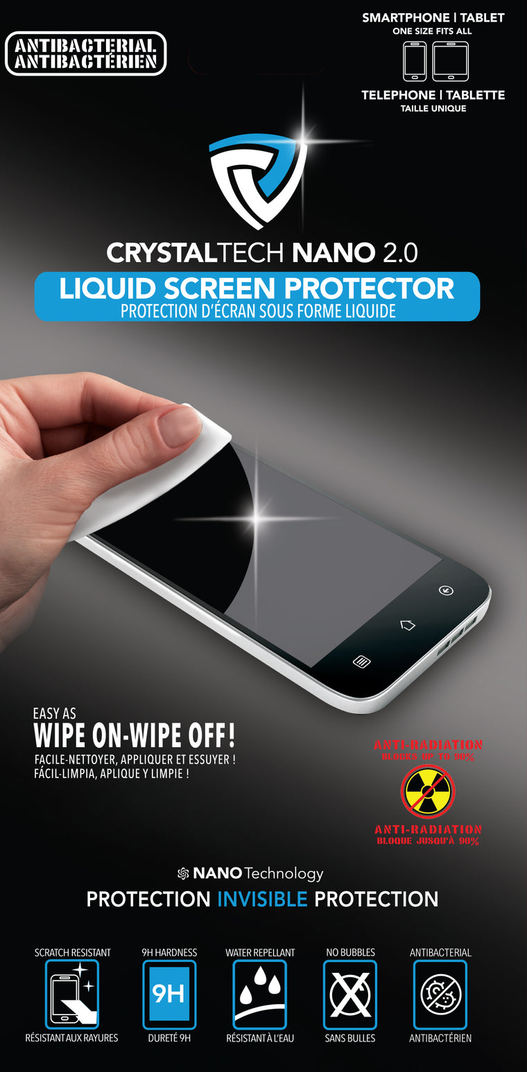 Crystaltech Crystaltech Nano 2.0 Antimicrobial Liquid Screen Protection with $100 Insurance