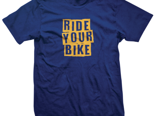 CLOSE OUT RIDE YOUR BIKE T-SHIRT - Blue/Dark Yellow