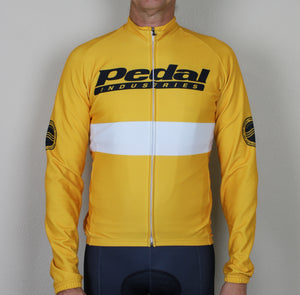 PEDAL TEAM '19 YELLOW LONG SLEEVE Fleece-lIned