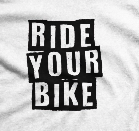 RIDE YOUR BIKE T-SHIRT - available in black, blue, and white