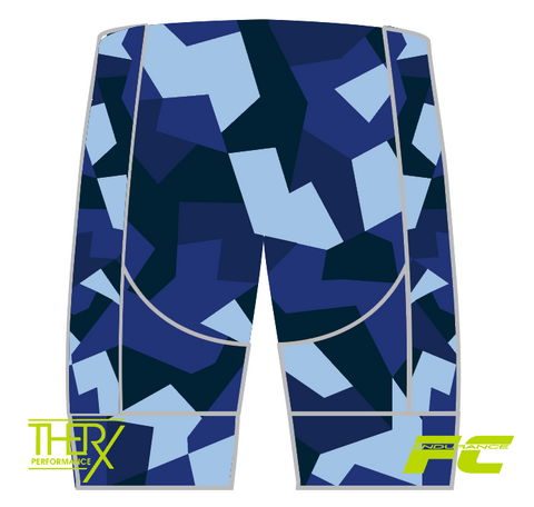 Women's FC ENDURANCE BLUE CAMO PRO SHORT - no straps
