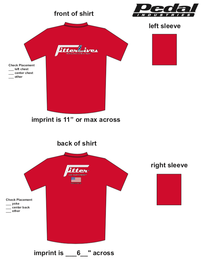 FitterLives SUBLIMATED RACE T-SHIRT - RED