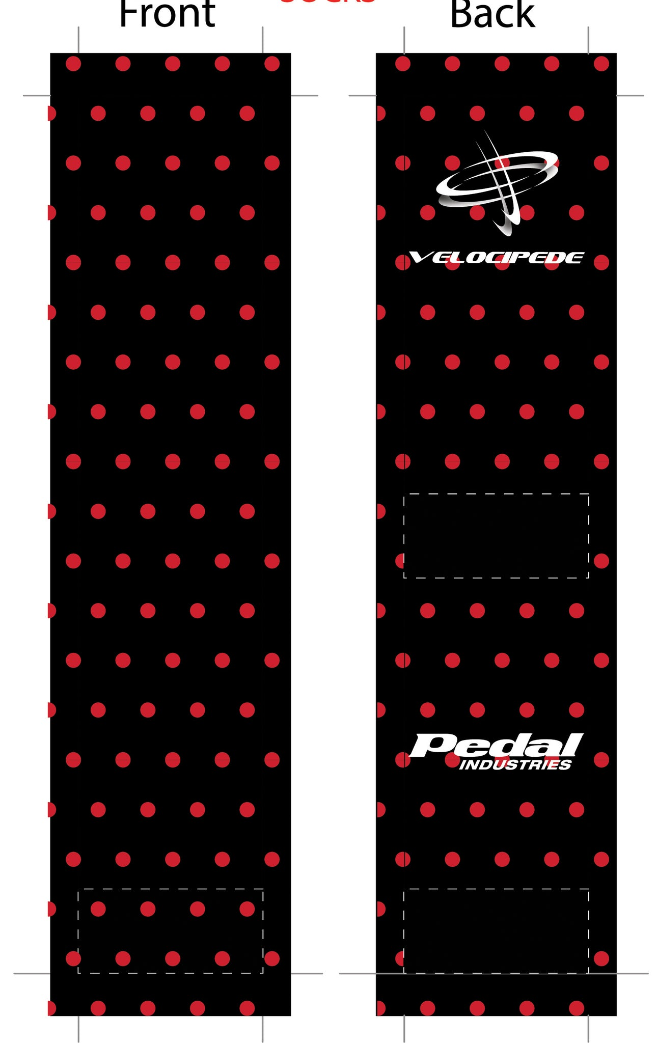 VELOCIPEDE BLACK SUBLIMATED SOCK - SHIPS IN ABOUT 4 WEEKS