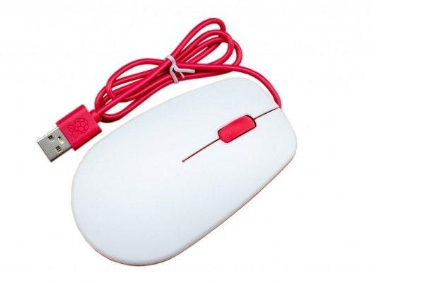 Official Raspberry Pi RPi Optical Mouse 3 Button Red and White
