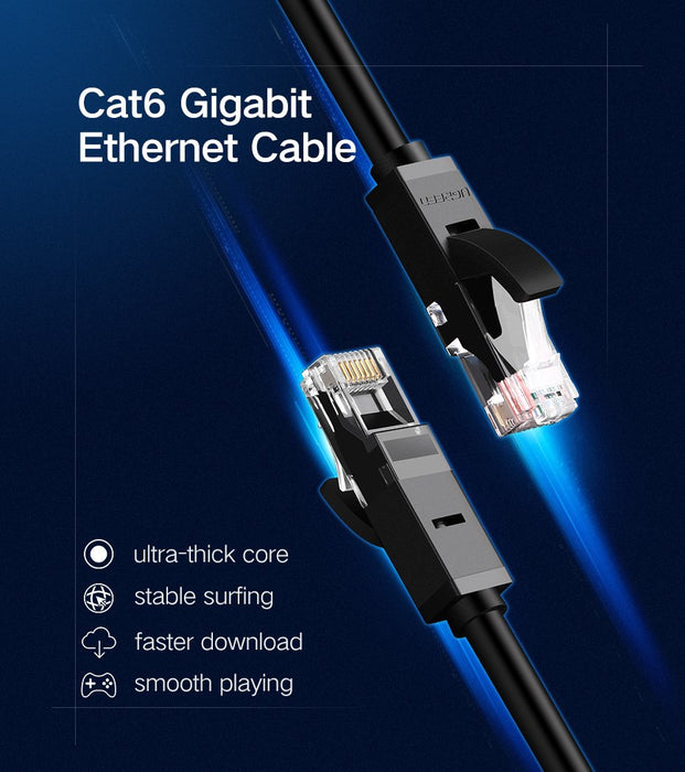 Ugreen Ethernet CAT 6 LAN-kabel RJ45 Gold Plated, 5m, Round, Black
