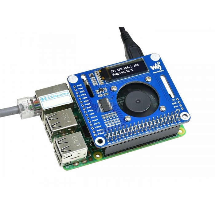 PWM Controlled PCA9685 Fan HAT for Raspberry Pi with Temperature Monitor Display
