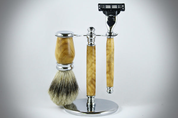 Classic Shaving Kit - Olive Wood