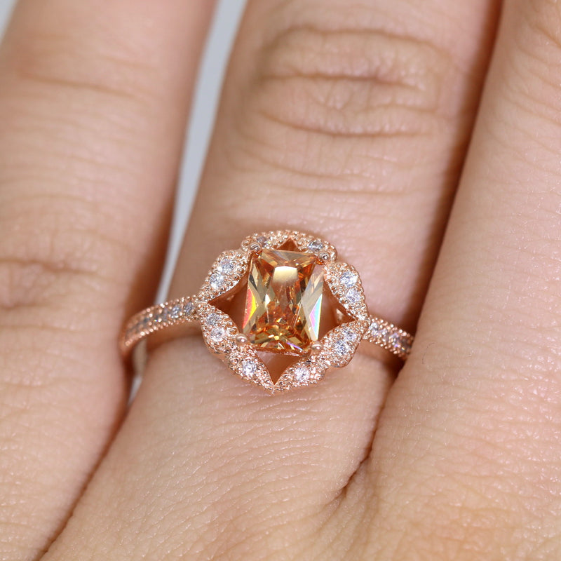 Emerald Cut Rectangle Champagne CZ Rose Gold Plated Women Engagement Ring