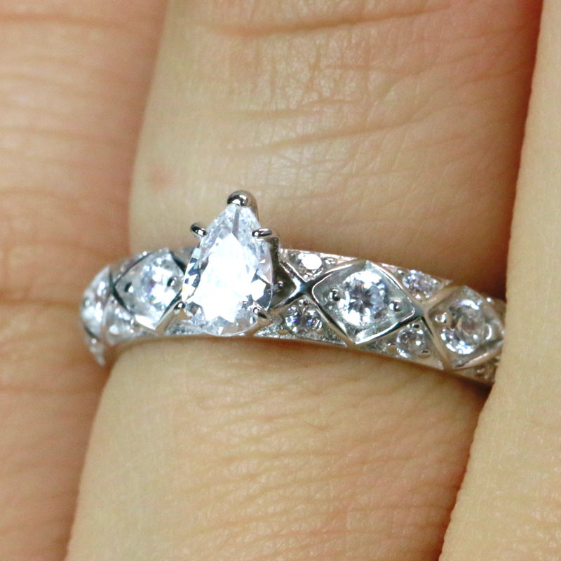 Sterling Silver Pear Cut CZ Engagement Ring Promise Ring Wedding Band