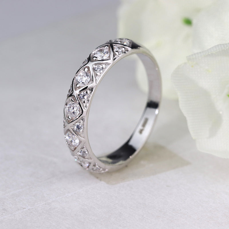 Sterling Silver Stackable Half Eternity Ring Engagement Wedding Band