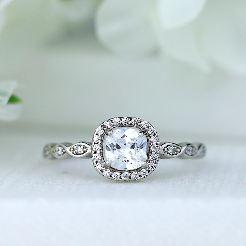 Cushion Cut Sterling Silver Halo Engagement Ring Promise Ring Wedding Band