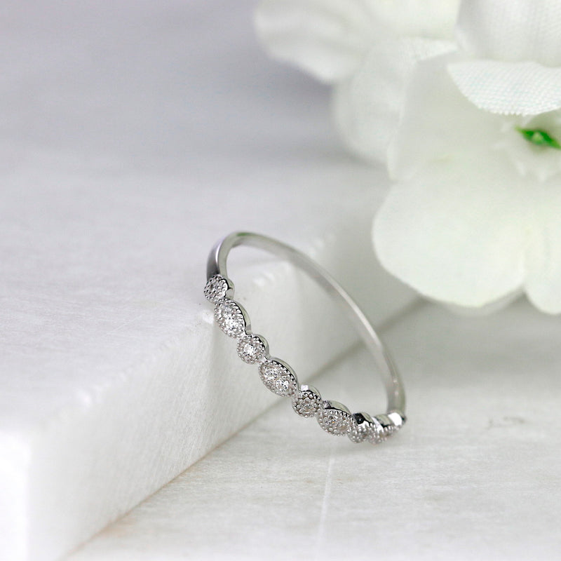 Sterling Silver Milgrain Marquise Dot Stackable Half Eternity Ring Wedding Band