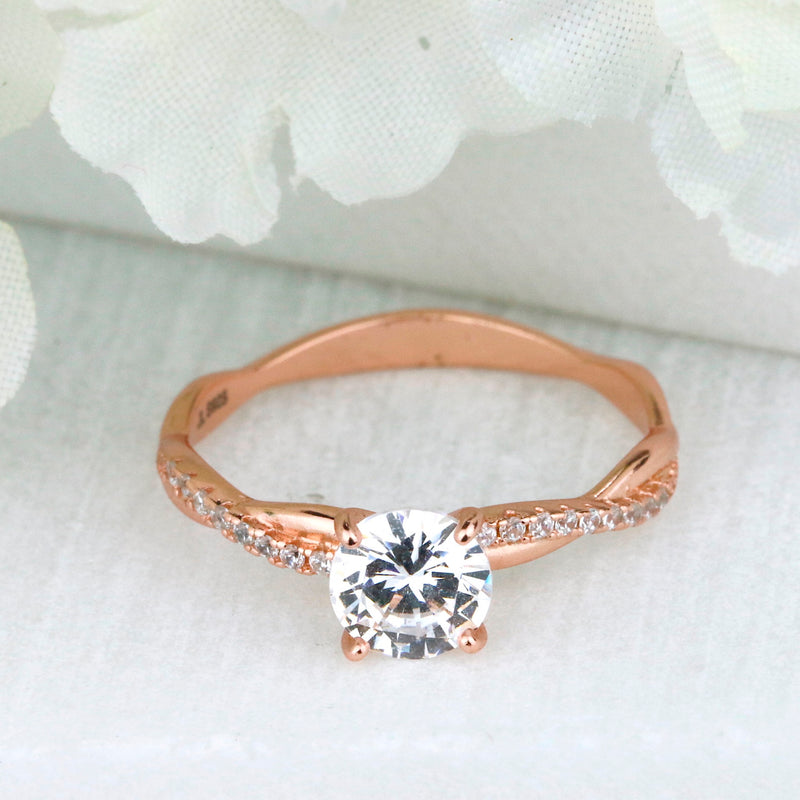 Petite Twist Vine Rose Gold 925 Silver Infinity Engagement Ring Made in USA