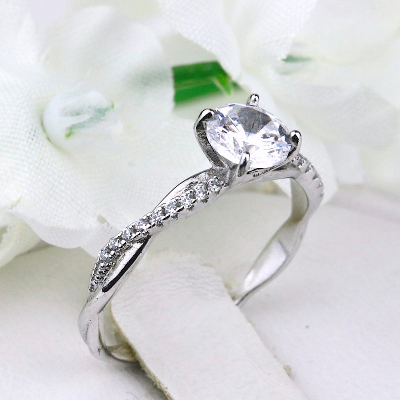 Sterling Silver Petite Twist Vine Infinity Engagement Ring Wedding Band Promise