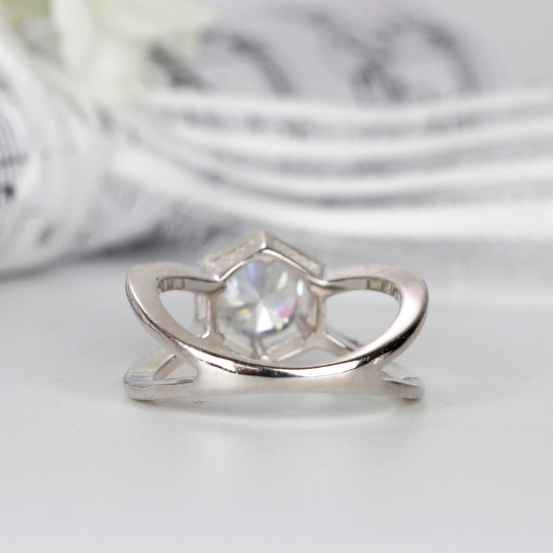 Round Cut Halo Sterling Silver Hexagon Engagement Ring Split Shank Wedding Ring