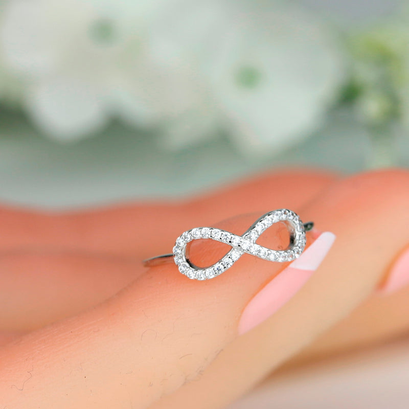 925 Sterling Silver Infinity Ring Friendship Ring Stacking Ring Minimalist
