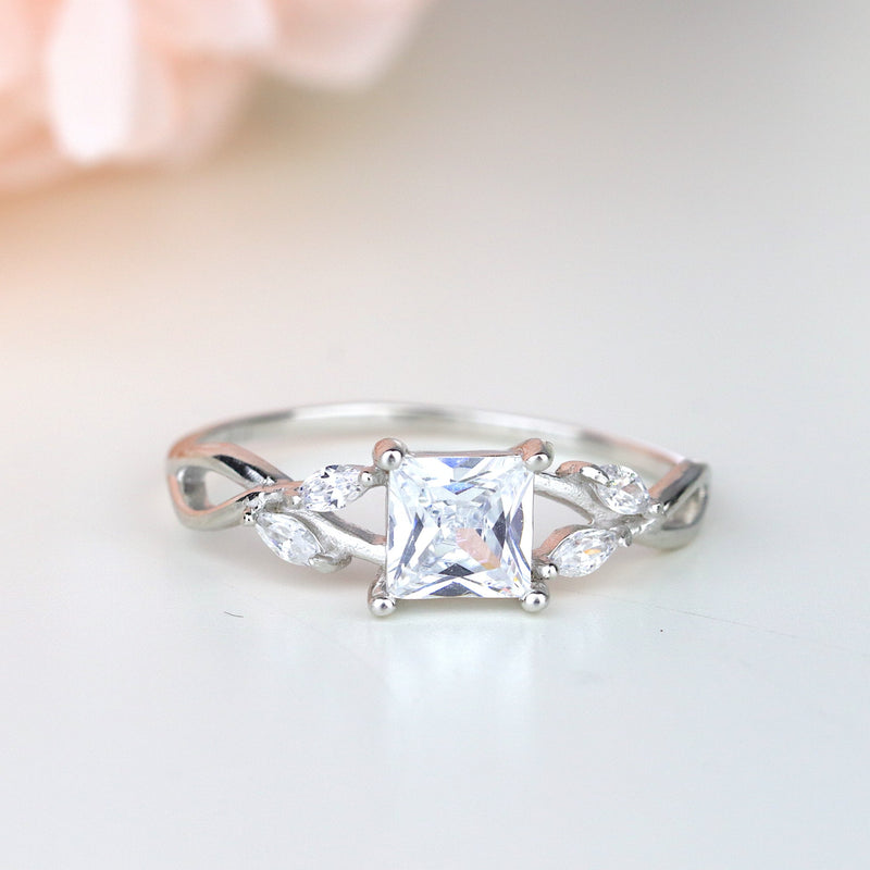 Twist Vine Princess Cut CZ Sterling Silver Engagement Ring Promise Ring Valentin