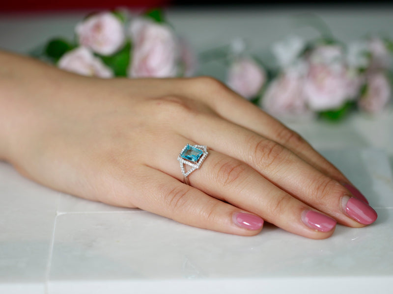 2ct Emerald Cut Rectangular Aquamarine Sterling Silver Engagement Ring Promise
