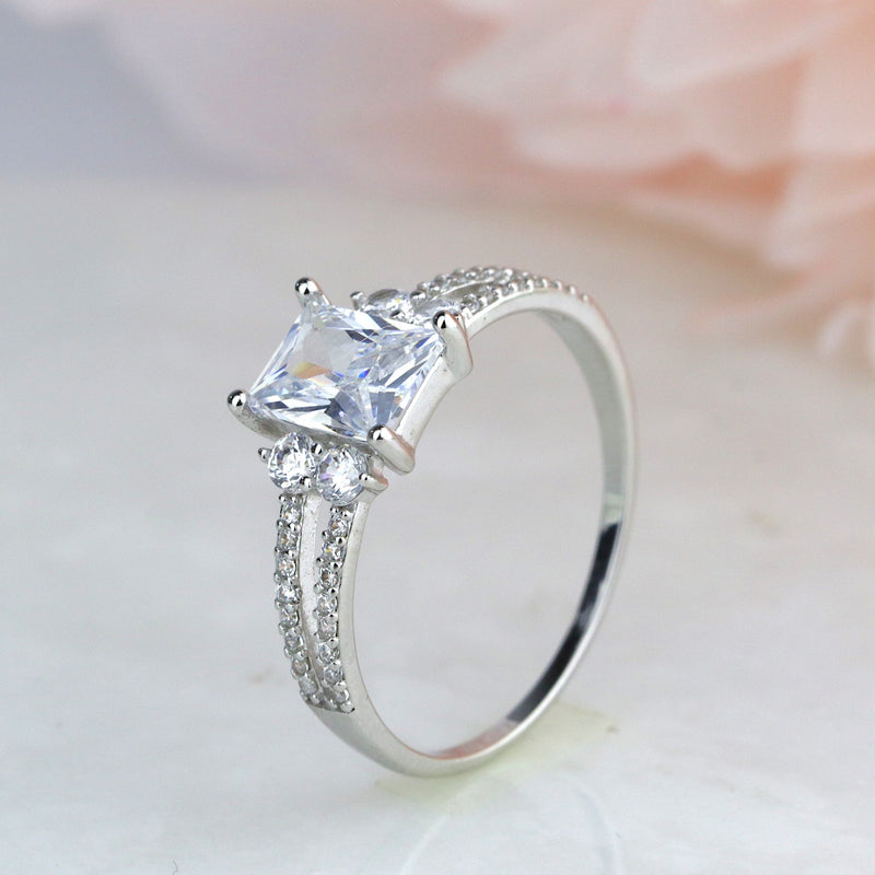 1ct Emerald 5 Stone Engagement Ring in Sterling Silver Promise Ring Dainty Ring