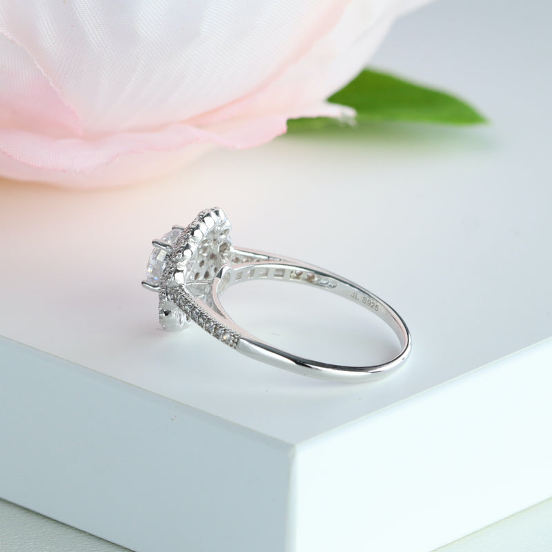 1.15 cttw Lotus Flower Halo Engagement Ring in Sterling Silver Promise Ring