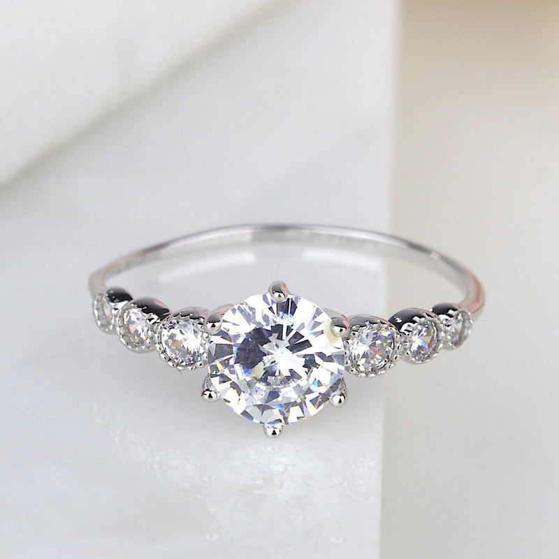 1ct Brilliant Round Cut 5 Stone Engagement Ring Promise Ring Dainty Ring USA