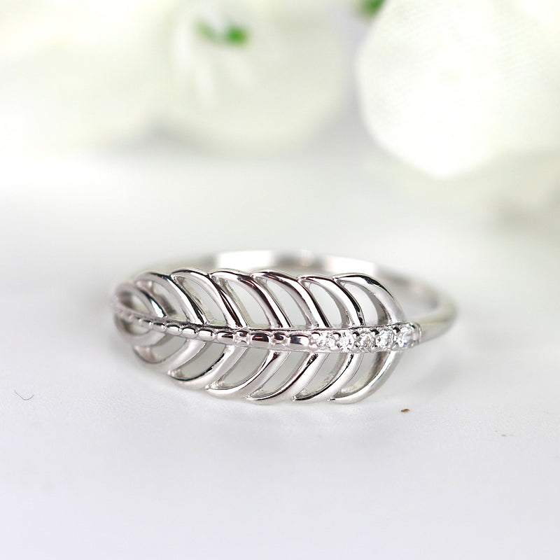 Rose Gold Feather Ring Leaf Ring Vermeil Silver Women Statement Stack Ring USA