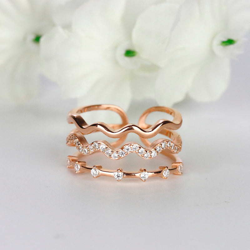 Wave Adjustable Ring Stacking Ring Set Rose Gold Sterling Silver Midi Knuckle