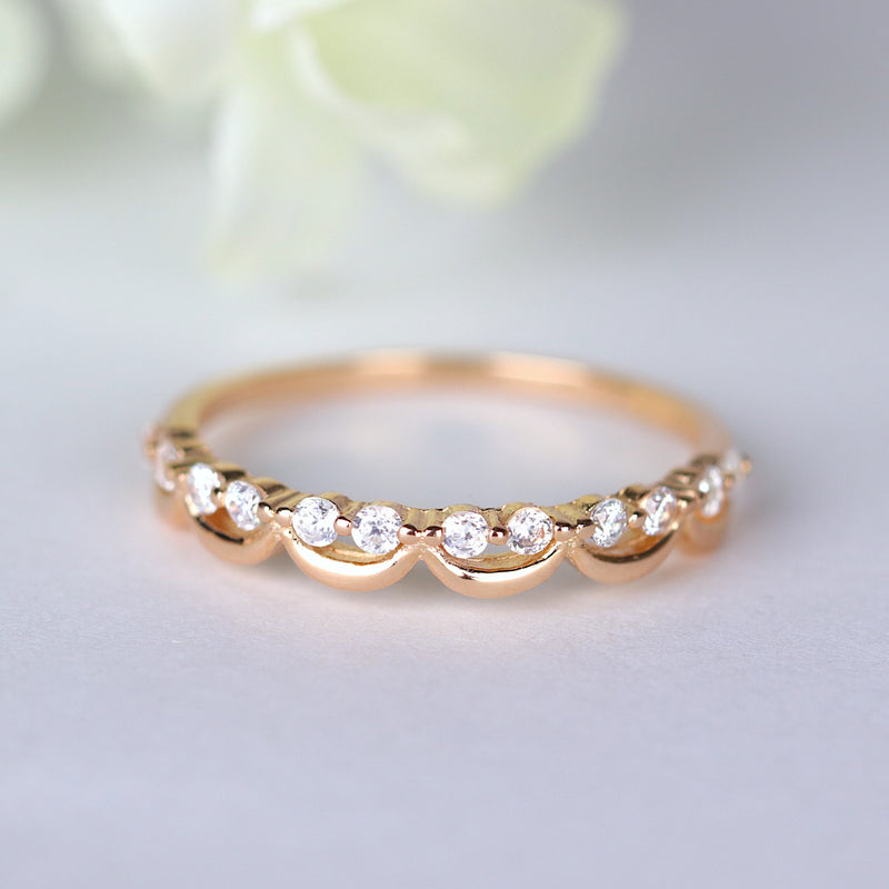 Smily Face Half Eternity Ring Rose Gold Silver Stackable Intertwined Ring