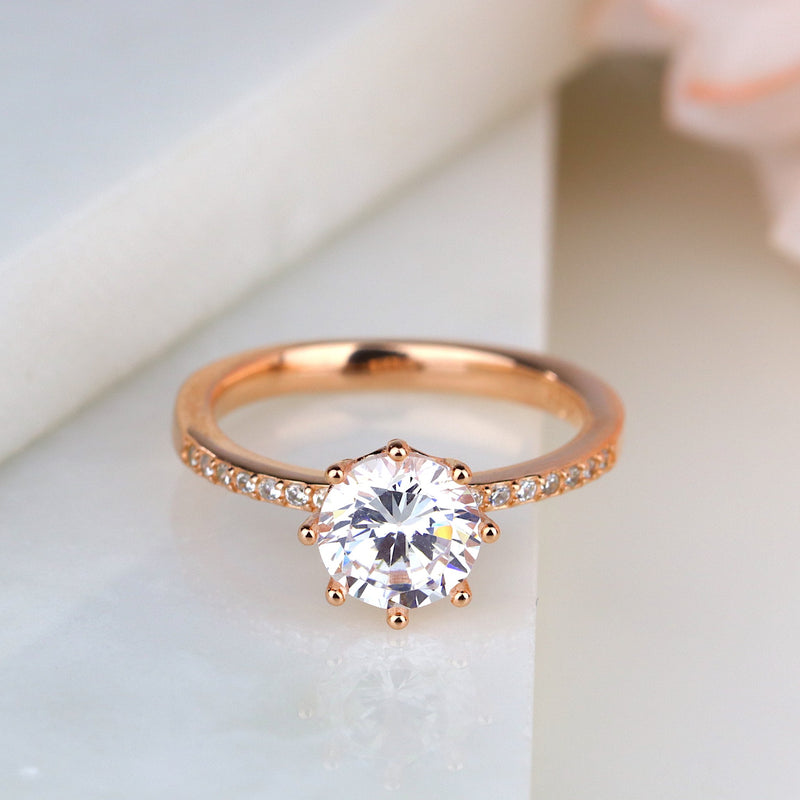 Round Cut 8-prong Lotus Rose Gold Silver Engagement Ring Promise Ring Wedding
