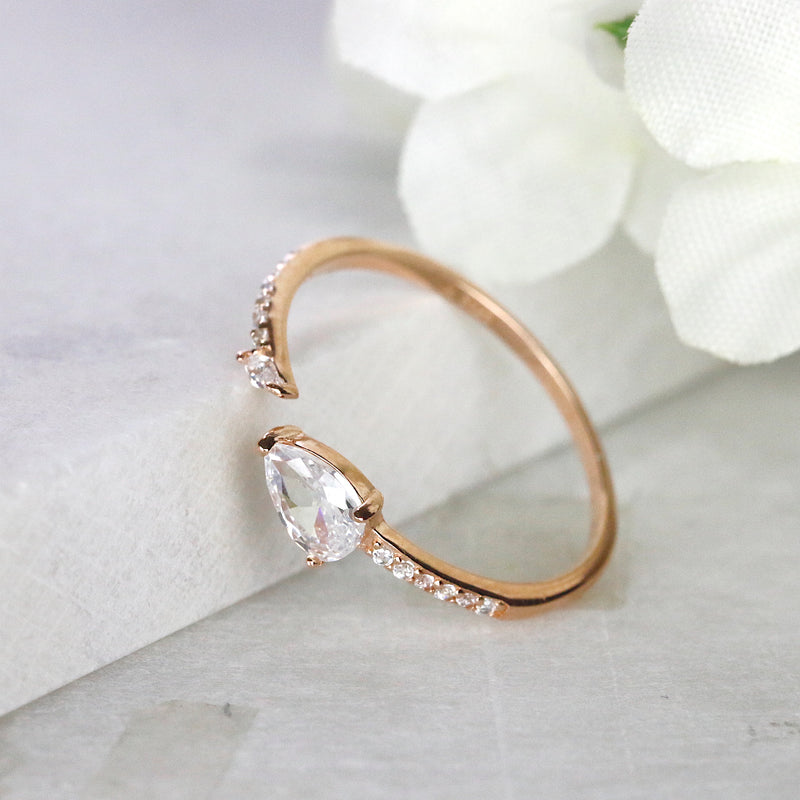 Pear Cut Open Ring Teardrop Rose Gold Silver Adjustable Ring Stacking Ring Midi