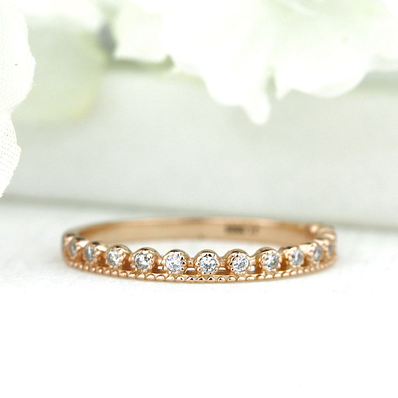 Rose Gold Dot Half Eternity Ring Stacking Ring Simple Promise Ring Made in USA
