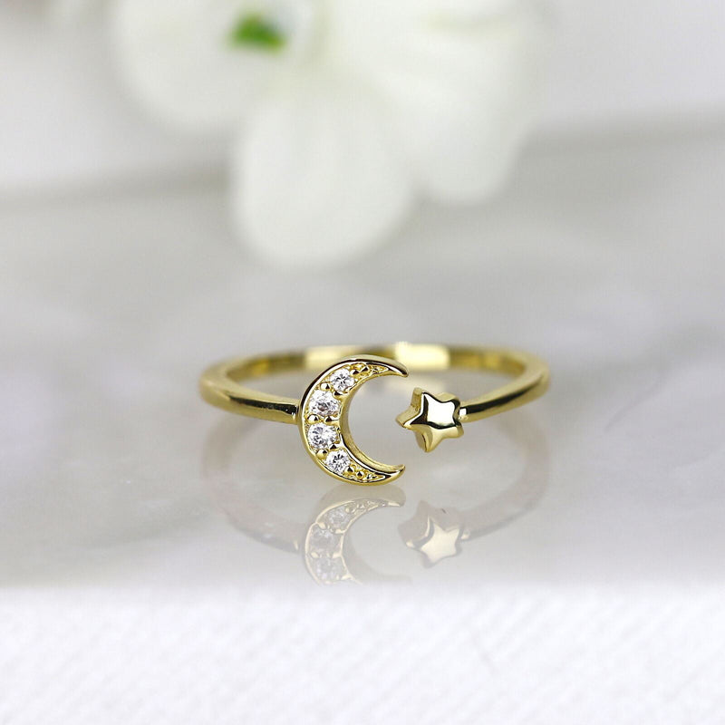 Star Ring Moon Ring Crescent Moon Star Gold Open Ring Celestial Jewelry