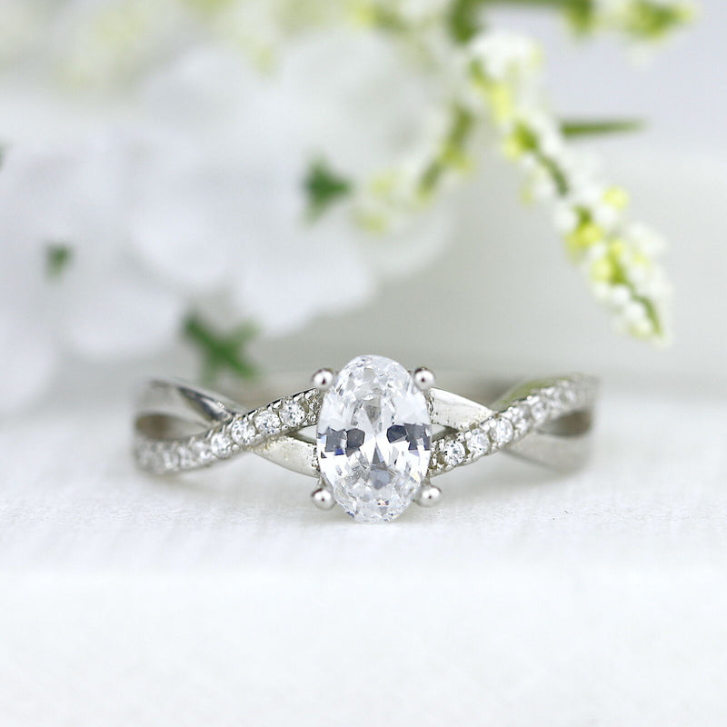1ct Oval Cut Infinity Sterling Silver Engagement Ring Wedding Ring Promise Ring