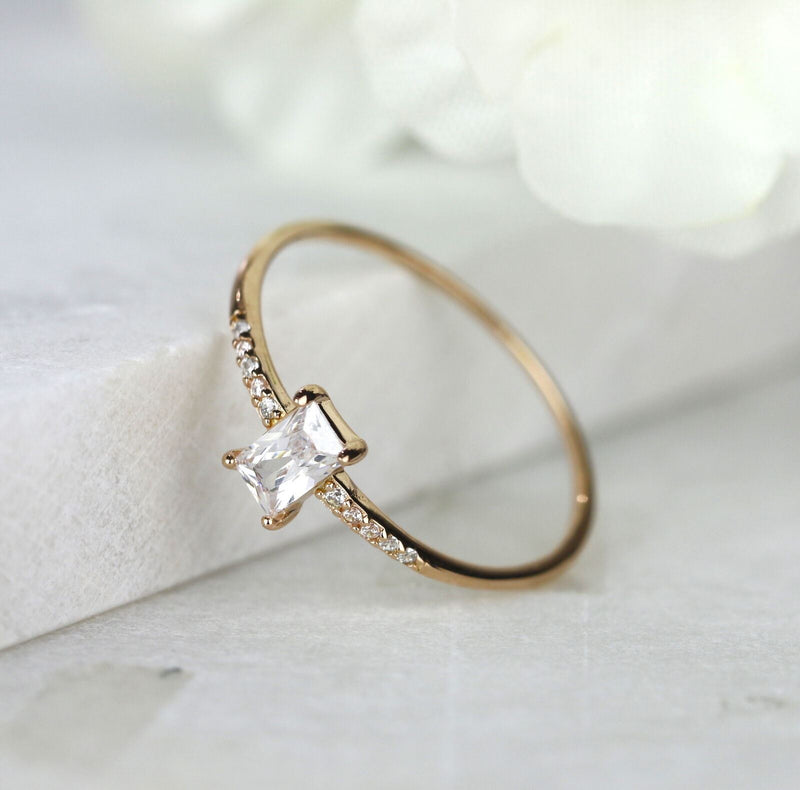 1 mm Thin Simple Baguette Ring Rose Gold Sterling Silver Stackable Ring