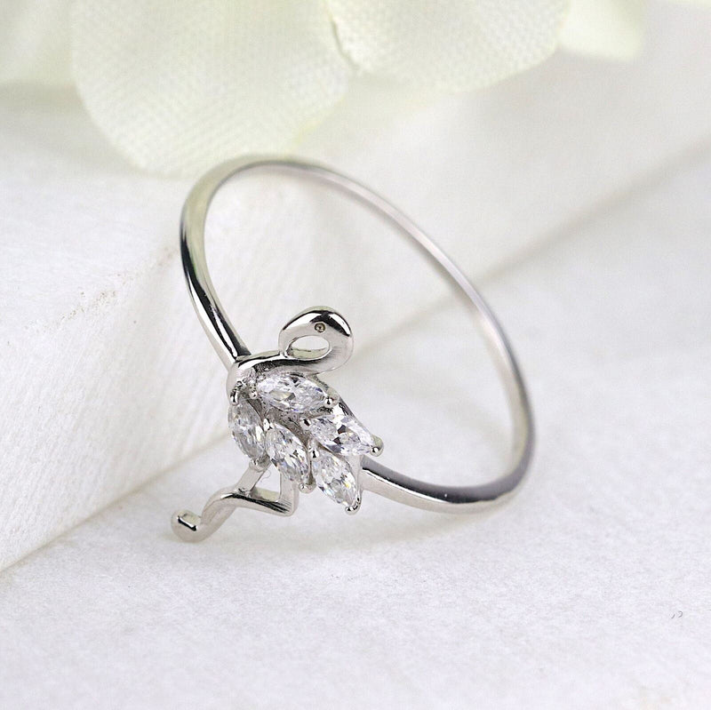 Sterling Silver Flamingo Ring Tropical Bird Ring Animal Lover Gift Dainty Ring
