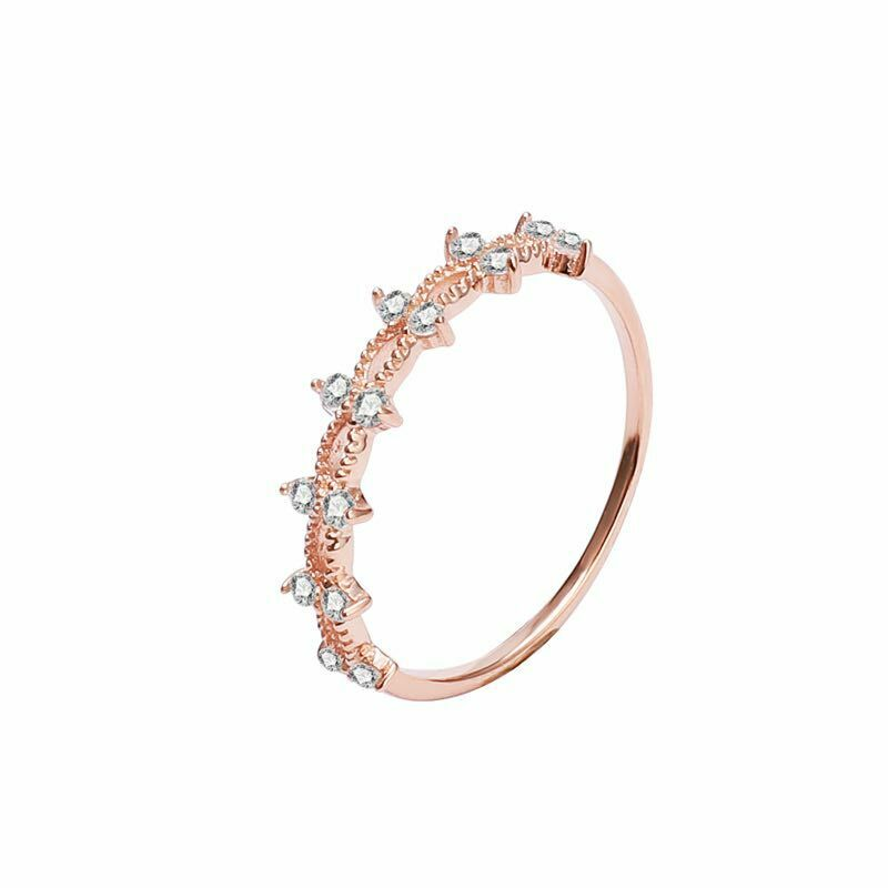 Stackable Rose Gold Half Eternity Ring Stacking Ring Dainty Minimalist Ring